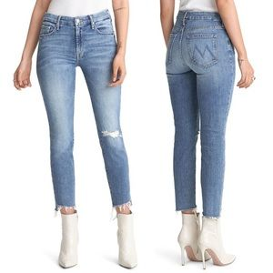 Mother Looker Ankle Fray Light Wash Skinny Jeans